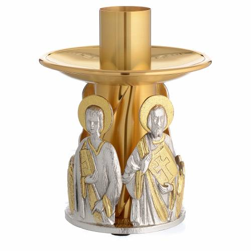 Portacandela bronzo dorato 4 evangelisti s2
