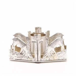 Candelieri metallo: Portacandela bronzo argentato cervi fonte