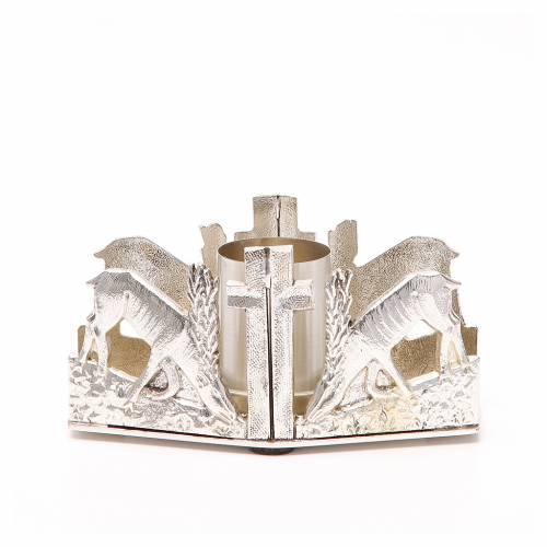 Portacandela bronzo argentato cervi fonte s1