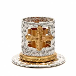 Candelieri metallo: Portacandela bronzo argentato dorato croci decorate