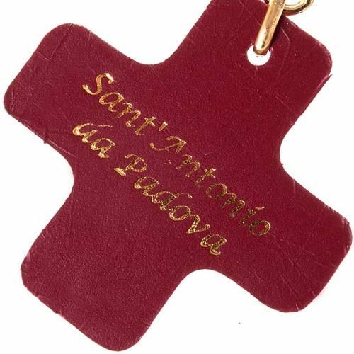 Portachiavi croce quadrata cuoio S.Antonio Padova s2
