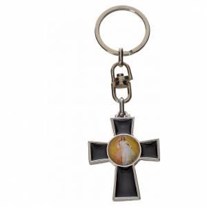 Portachiavi croce Spirito Santo zama smalto nero s2