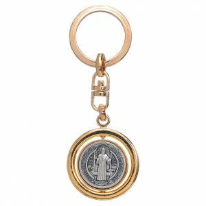 Portachiavi: Portachiavi dorato girevole medaglia san Benedetto