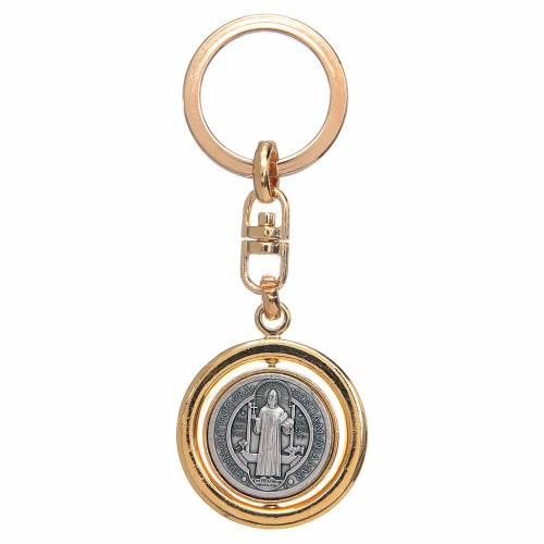 Portachiavi dorato girevole medaglia san Benedetto s1