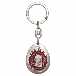 Portachiavi: STOCK Portachiavi Padre Pio goccia smalto rosso