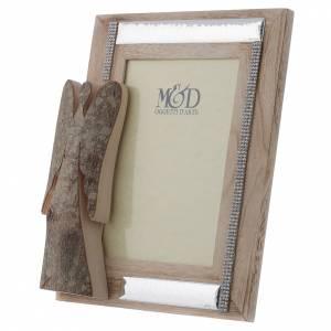 Portafoto in legno argento e strass angelo corteccia 25x21 cm s5