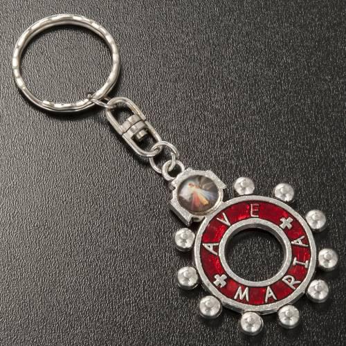 Porte clé anneau émail rouge Je Vous Salue Marie ENG s2