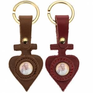 Porte-clés: Porte clé cuir Pape Francois coeur