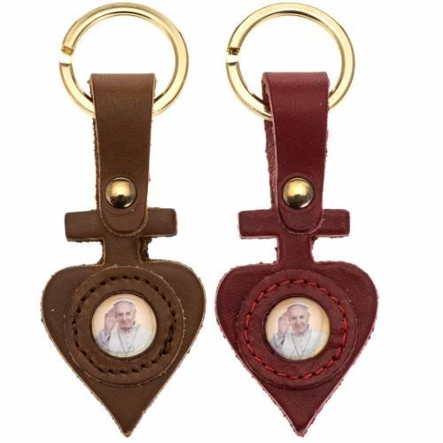 Porte clé cuir Pape Francois coeur s1