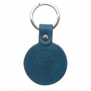 Porte-clés: Porte-clef Agneau Immolé cuir véritable bleu Moines Bethléem