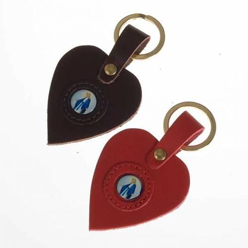 Porte-clefs coeur cuir Vierge Miraculeuse s1