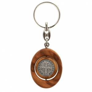 Porte-cléfs, médaille St Benoit tournante ovale s2