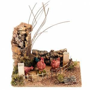 Poules et arbres avec palissade s1