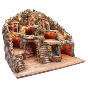 Presepe napoletano capanna ruscello e mulino 55x70x60 cm s3