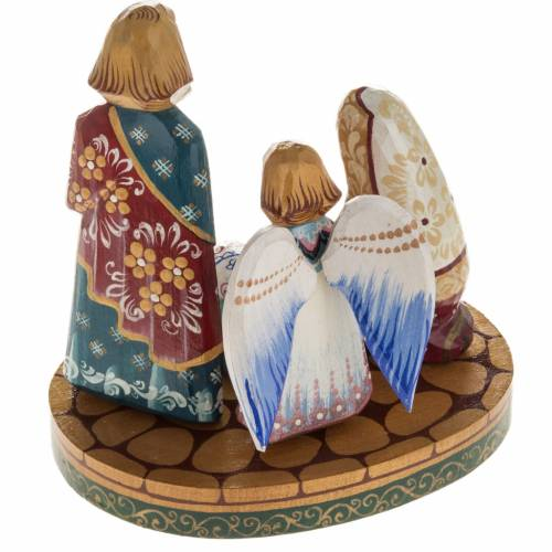 Presepe russo stilizzato legno abete con angelo s4