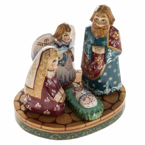 Presepe russo stilizzato legno abete con angelo s2