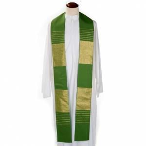 Priesterstolen: Priesterstola reine Wolle goldene Streifen