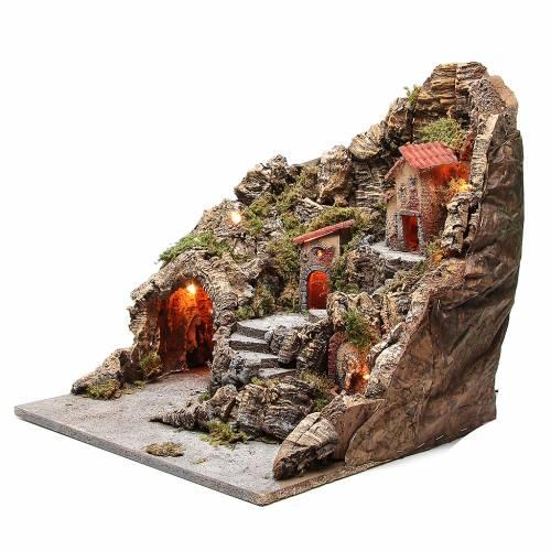 Pueblo con cueva y fuente belén napolitano 40x34x40 cm s2