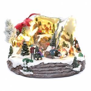 Pueblos navideños en miniatura: Pueblo navideño campana de Navidad 25x35x40 cm