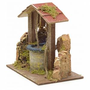 Puits en miniature pour crèche roche en liège et toit 15x15x10 s2
