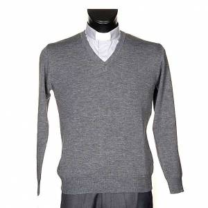 Vestes, gilets, pullovers: Pullover, ouverture en V,gris clair