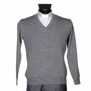 Pullover collo V grigio chiaro s1