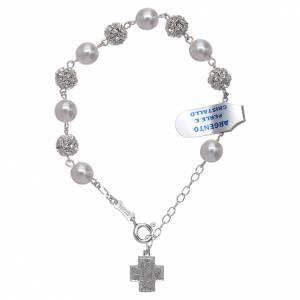 Pulsera decena strass y perlas plata 800 s1