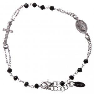 Pulseras AMEN: Pulsera rosario AMEN Cruz plata 925 cristales negros acabado Rodio