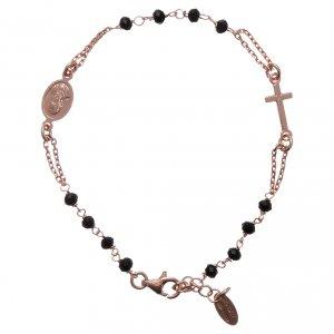 Pulseras AMEN: Pulsera rosario AMEN plata 925 cistales negros acabado rosado