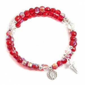 Pulseras rosario con muelle: Pulsera rosario vidrio aro de memoria roja