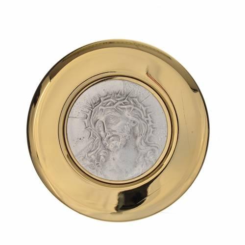 Pyx in brass, pewter relief Ecce Homo, 8cm s1