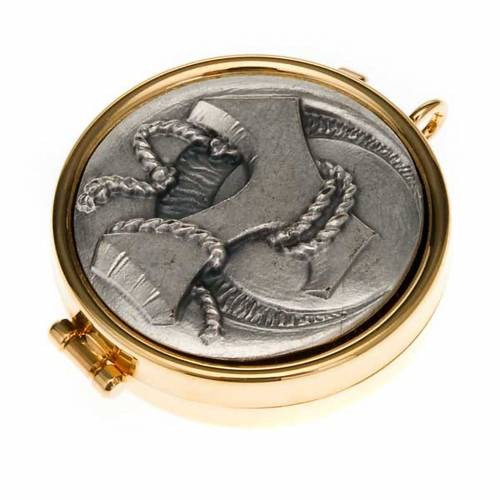 Pyx with Tau and cord plate in pewter s1
