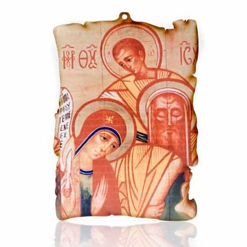 Quadretto legno pergamena Sacra Famiglia s1