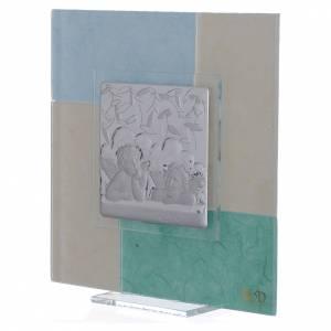 Quadro Battesimo celeste-verde 17x17 cm s2
