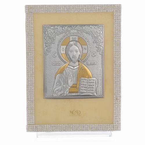 Quadro Cristo ortodosso Swarovski Bianchi 19x14 cm s1