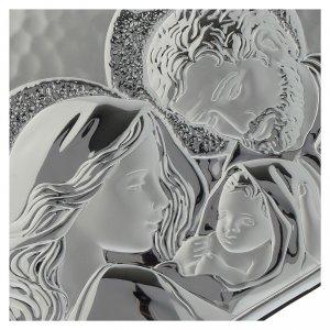 Quadro cuore S. Famiglia lastra argentata legno wengé s2