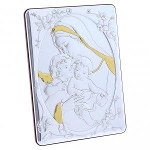 Quadro bilaminato retro legno pregiato rifiniture oro Madonna Angelo e Gesù 21,6X16,3 cm s5