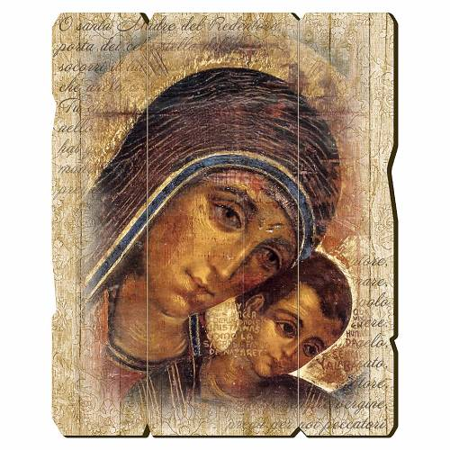 Quadro in Legno Sagomato gancio retro Icona Madonna del Kiko 35x30 s1