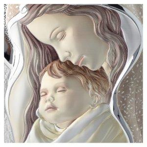 Quadro Madonna e Bambino argento colorato tavola sagomata s2