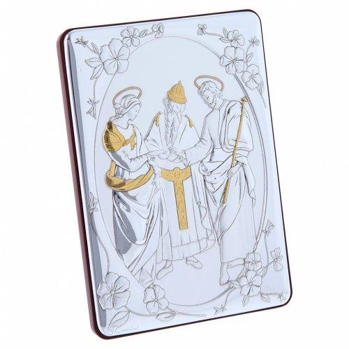 Quadro Matrimonio Vergine bilaminato retro legno pregiato rifiniture oro 14X10 cm s2