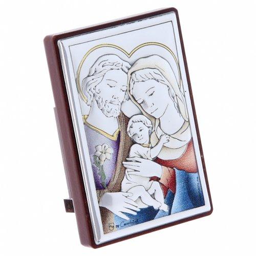 Quadro Sacra Famiglia bilaminato con retro legno pregiato 6X4 cm s2