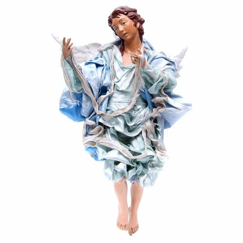 Red angel with light blue clothes, figurine for Neapolitan Nativity, 45cm s1