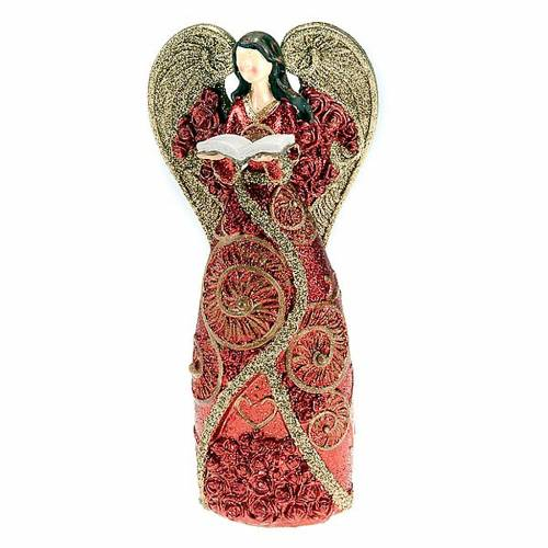 Red glitter resin angel statuette with book s1