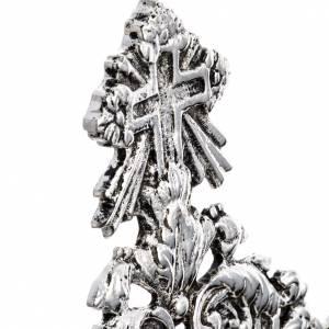 Relicario latón fundido plateado decoración floral s5