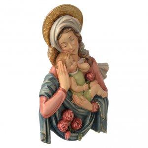 Relieve Virgen y Niño rosas madera coloreada Valgardena s3