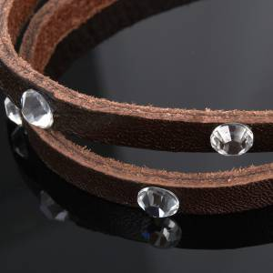 Religious bracelet in leather with sphere and Swarovski s5