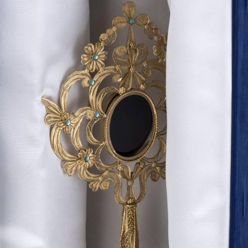 Reliquary in silver 800, golden filigree decoration, 36 cm s16