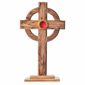 Olivenholz Monstranzen, Custodien, Reliquiaren: Reliquiar Keltisch Kreuz 29cm mit Filigranarbeit Schrein