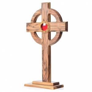Olivenholz Monstranzen, Custodien, Reliquiaren: Reliquiar Keltisch Kreuz mit Filigranarbeit Schrein 29cm