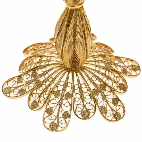 Reliquiario argento 800 dorato filigrana altezza 12 cm s3
